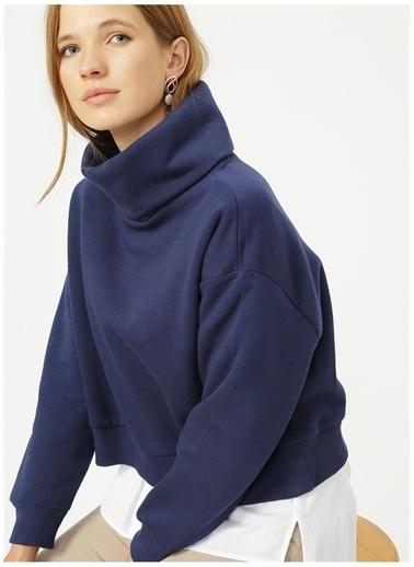 Fabrika Fabrika Dik Yaka Düz Lacivert Sweatshirt Lacivert
